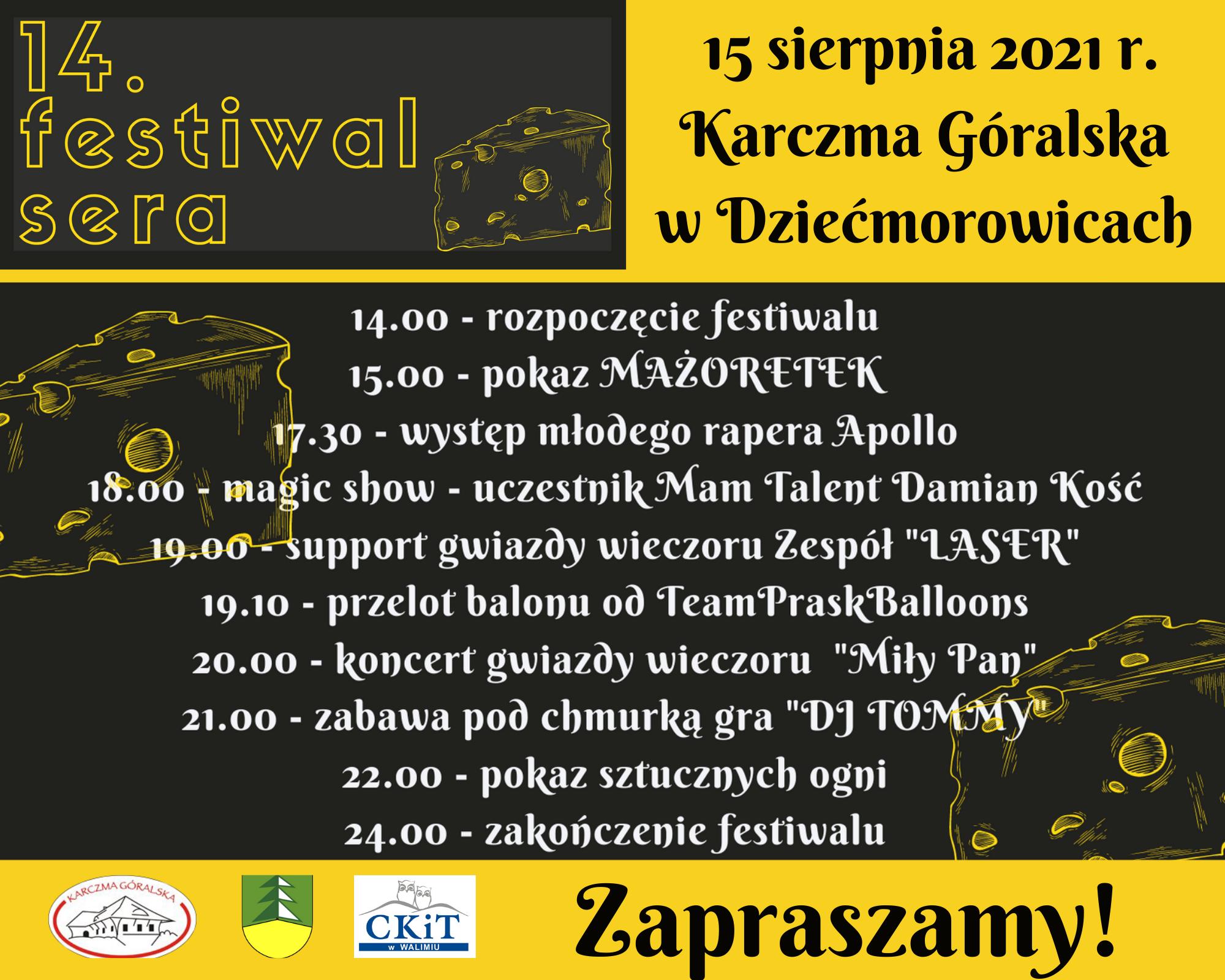 XIV Festiwal Sera – 15 sierpnia 2021 r. w Karczmie Góralskiej w Dziećmorowicach
