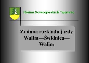 Zmiana rozkładu jazdy na trasie Walim – Świdnica