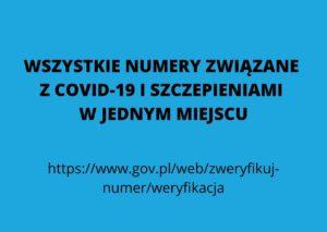 WSZYSTKIE NUMERY ZWIĄZANE Z COVID-19 I SZCZEPIENIAMI W JEDNYM MIEJSCU